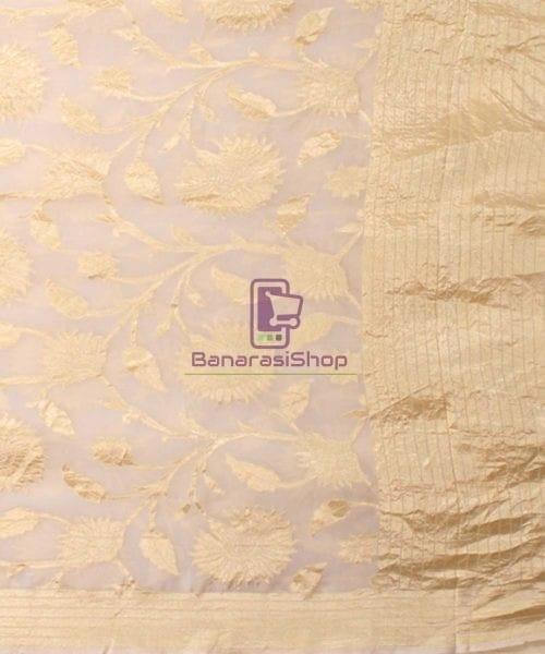 Pure Banarasi Handloom Khaddi Georgette Silk Saree in White 5