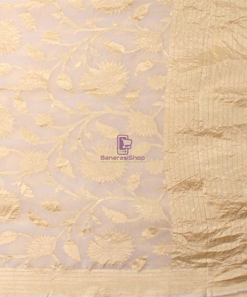 Pure Banarasi Handloom Khaddi Georgette Silk Saree in White 3