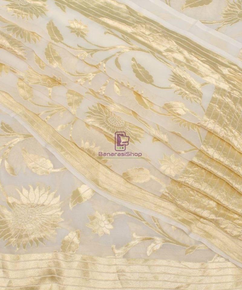 Pure Banarasi Handloom Khaddi Georgette Silk Saree in White 1