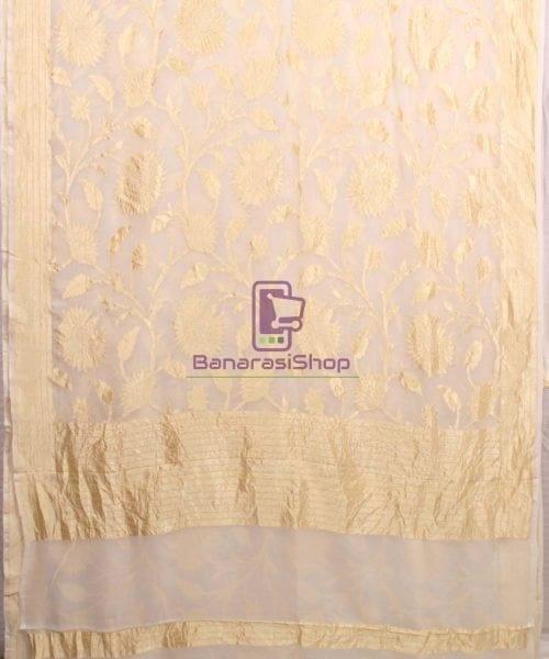 Pure Banarasi Handloom Khaddi Georgette Silk Saree in White 4
