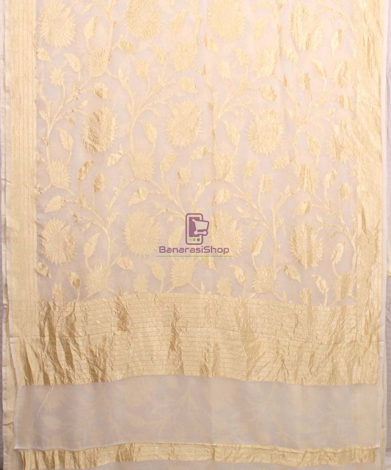 Pure Banarasi Handloom Khaddi Georgette Silk Saree in White 2