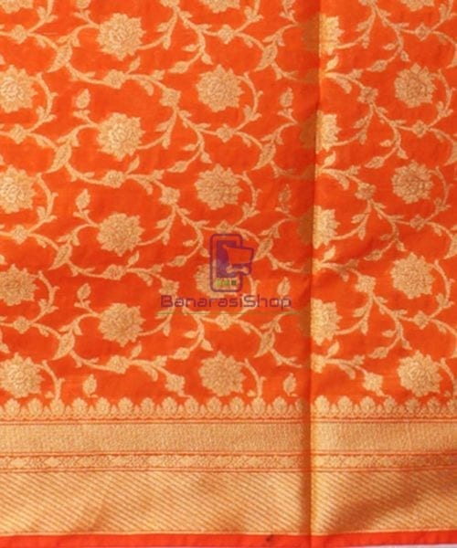 Woven Banarasi Art Silk Dupatta in Orange 5