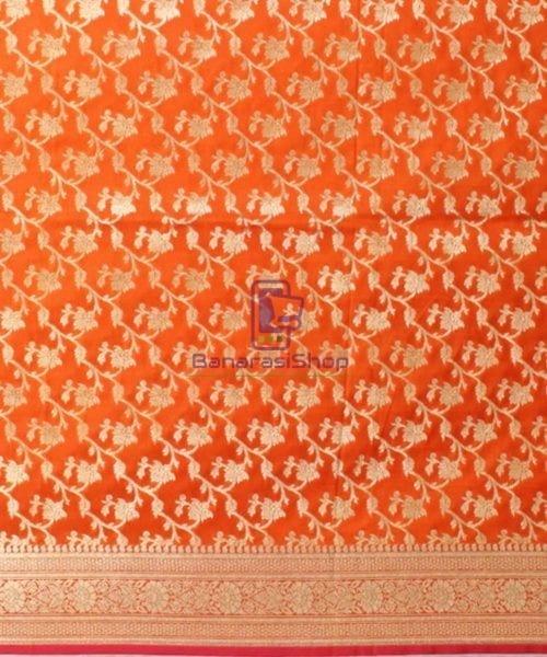 Woven Banarasi Art Silk Dupatta in Golden Orange 4