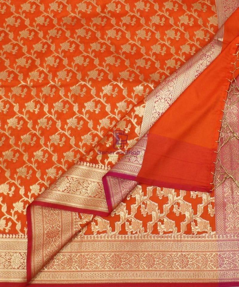 Woven Banarasi Art Silk Dupatta in Golden Orange 1