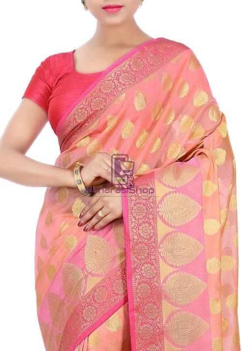 Woven Banarasi Cotton Silk Saree in Peach 5