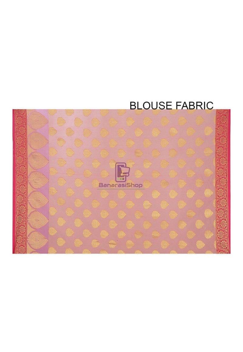Woven Banarasi Cotton Silk Saree in Peach 4