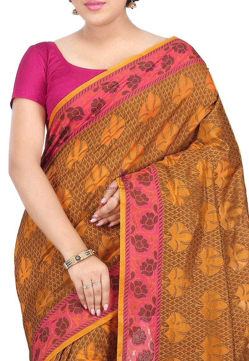 Woven Banarasi Cotton Silk Saree in Rust 2