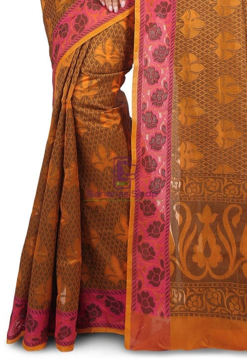 Woven Banarasi Cotton Silk Saree in Rust 6