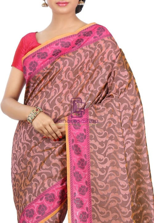 Woven Banarasi Cotton Silk Saree in Peach 5