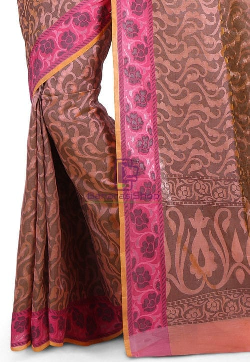 Woven Banarasi Cotton Silk Saree in Peach 6