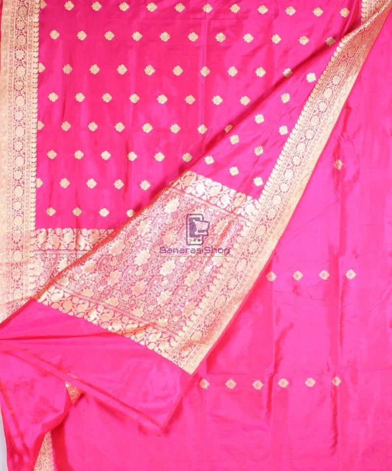 Handwoven Pure Katan Banarasi Silk Saree in Fuschia 2