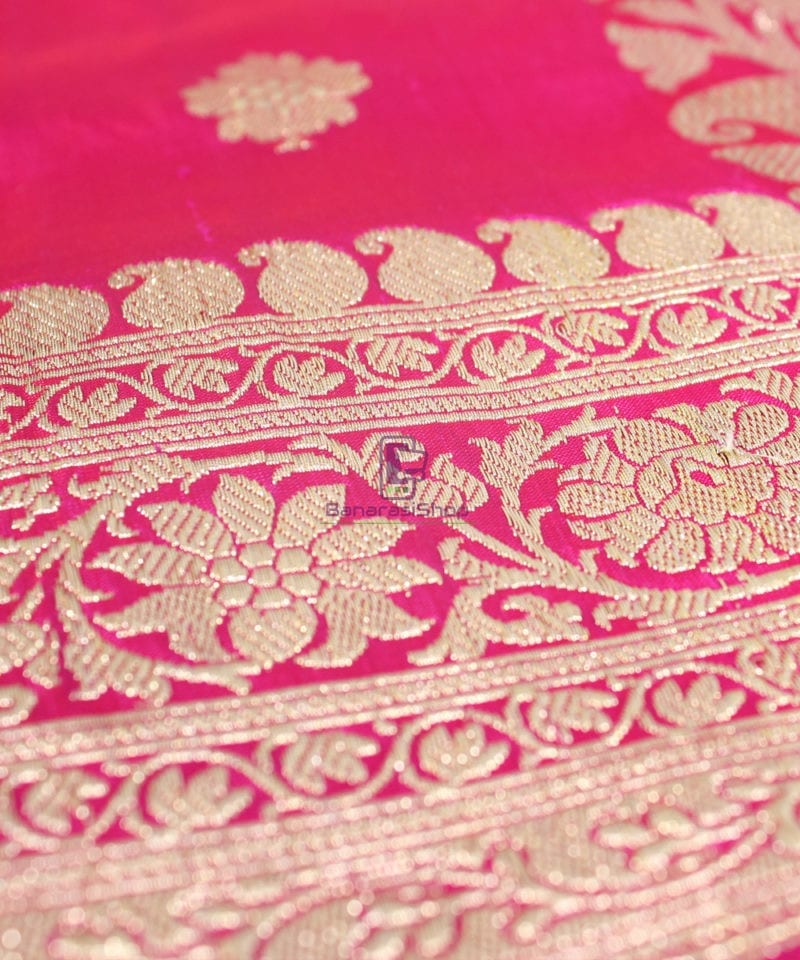 Handwoven Pure Katan Banarasi Silk Saree in Fuschia 1