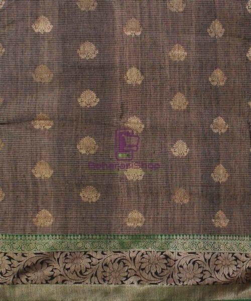 Banarasi Pure Handloom Dupion Silk Coffee Brown Saree 4