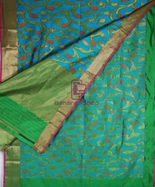 Handwoven Pure Banarasi Katan Silk Saree in Blue 5
