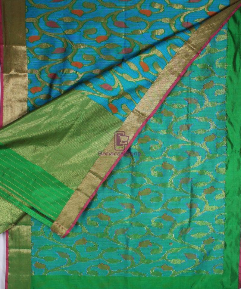 Handwoven Pure Banarasi Katan Silk Saree in Blue 3