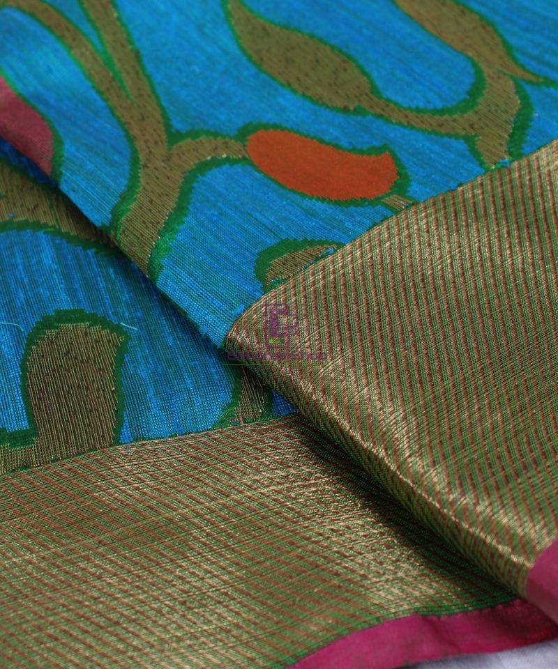 Handwoven Pure Banarasi Katan Silk Saree in Blue 1