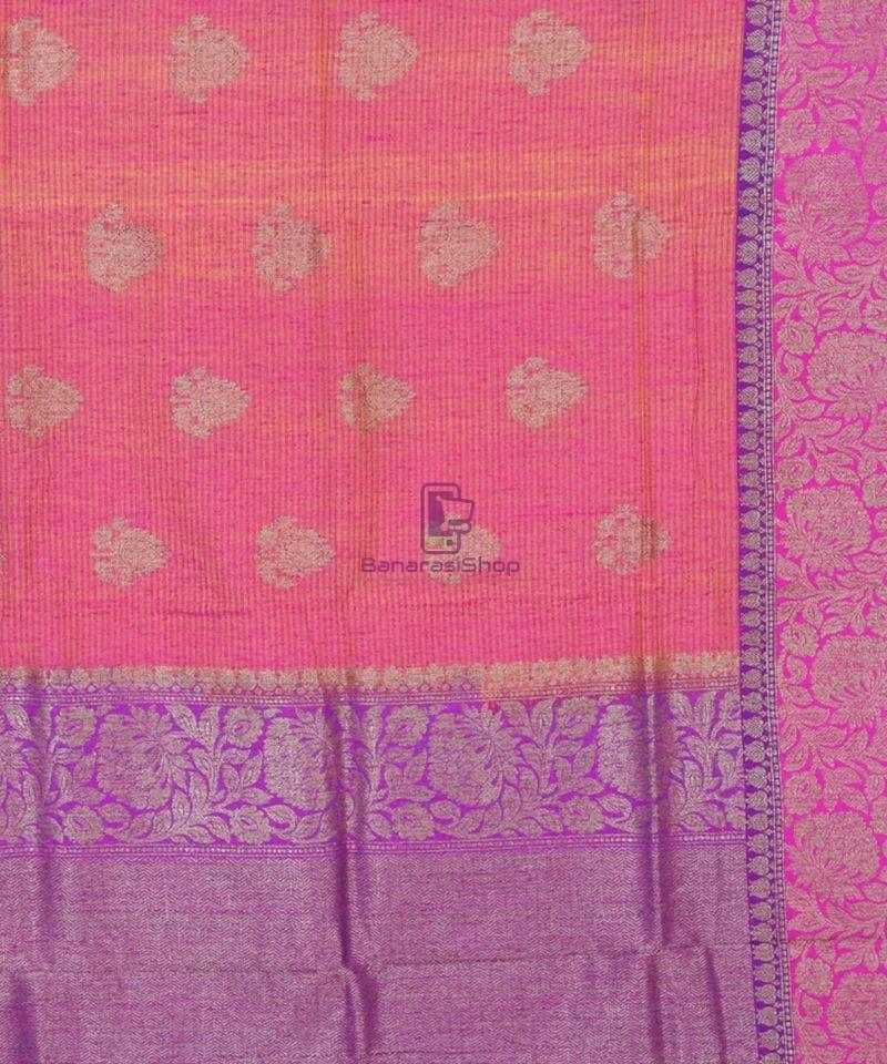 Banarasi Pure Handloom Dupion Silk Watermelon Pink Saree 2