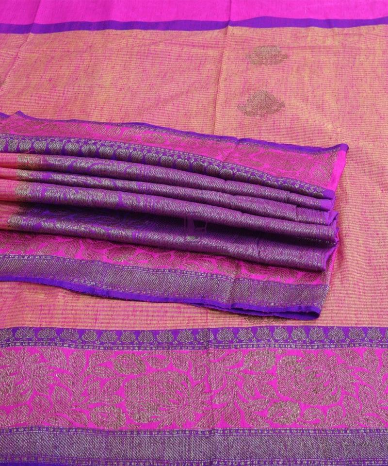 Banarasi Pure Handloom Dupion Silk Watermelon Pink Saree 4