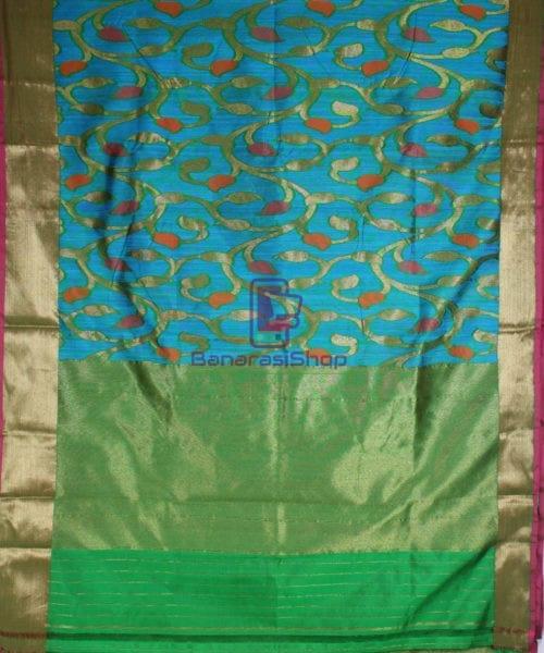 Handwoven Pure Banarasi Katan Silk Saree in Blue 4