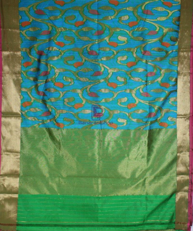 Handwoven Pure Banarasi Katan Silk Saree in Blue 2