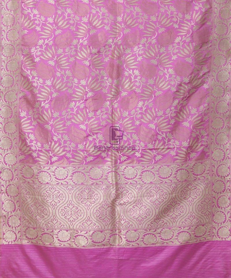 Pure Banarasi Uppada Silk Handwoven Saree in Taffy Pink 1