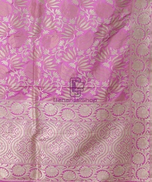 Pure Banarasi Uppada Silk Handwoven Saree in Taffy Pink 5