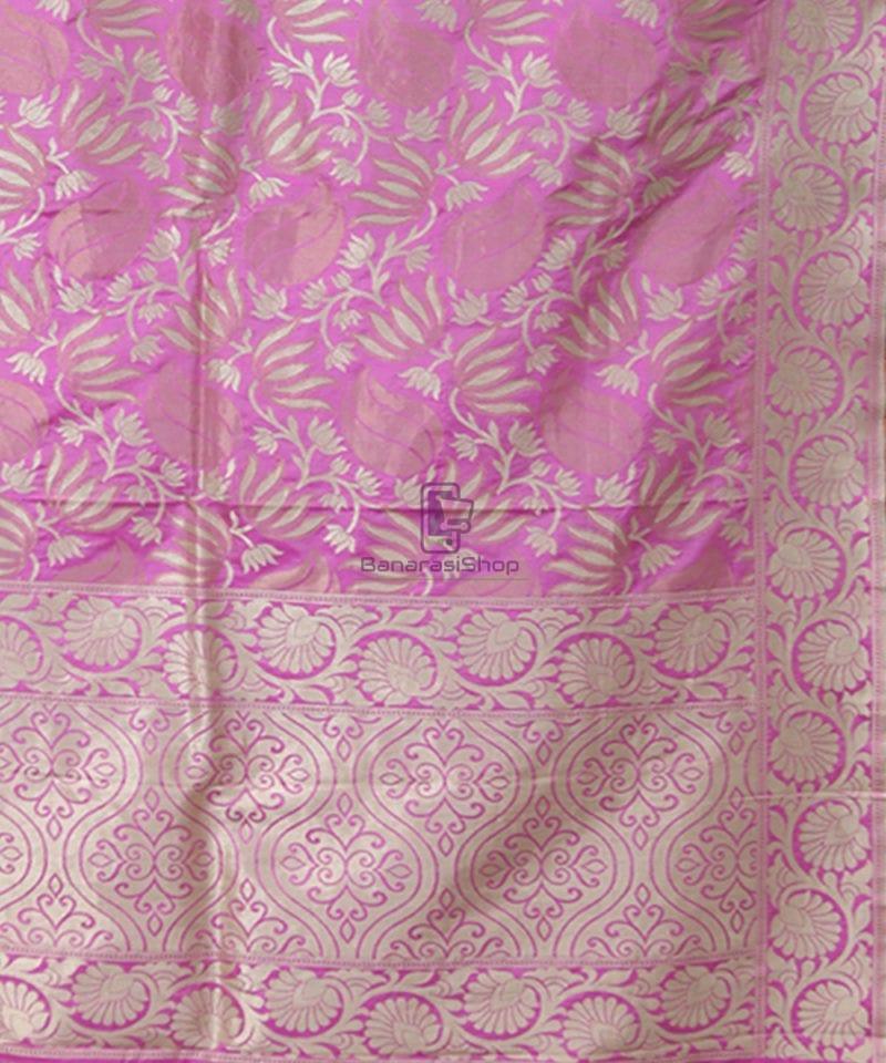 Pure Banarasi Uppada Silk Handwoven Saree in Taffy Pink 2