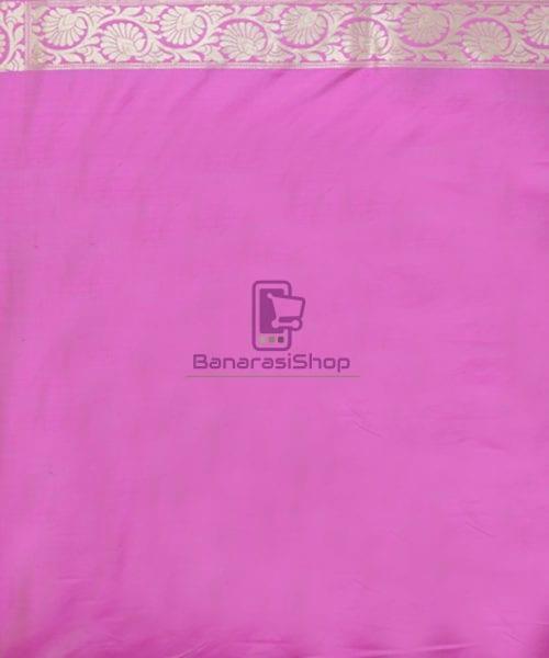 Pure Banarasi Uppada Silk Handwoven Saree in Taffy Pink 6