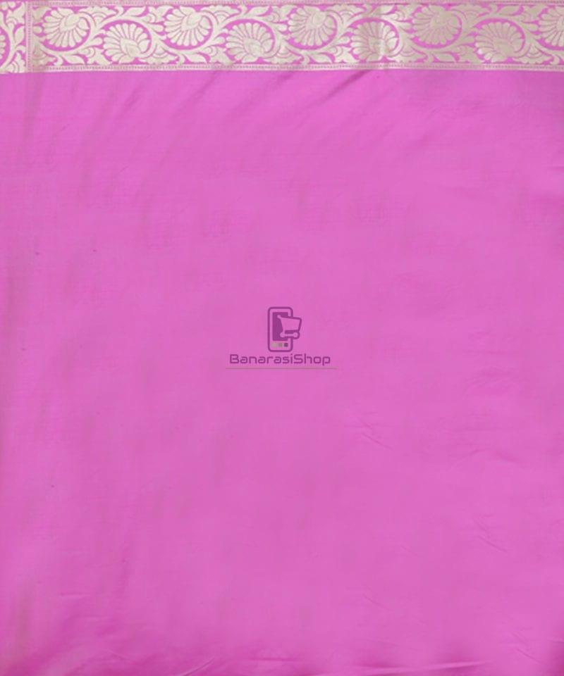 Pure Banarasi Uppada Silk Handwoven Saree in Taffy Pink 3