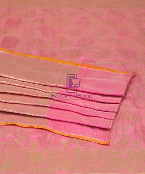 Pure Banarasi Uppada Silk Handwoven Saree in Taffy Pink 7