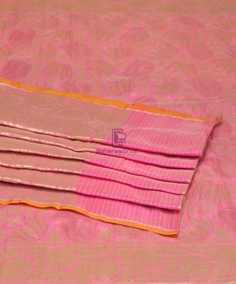 Pure Banarasi Uppada Silk Handwoven Saree in Taffy Pink 4