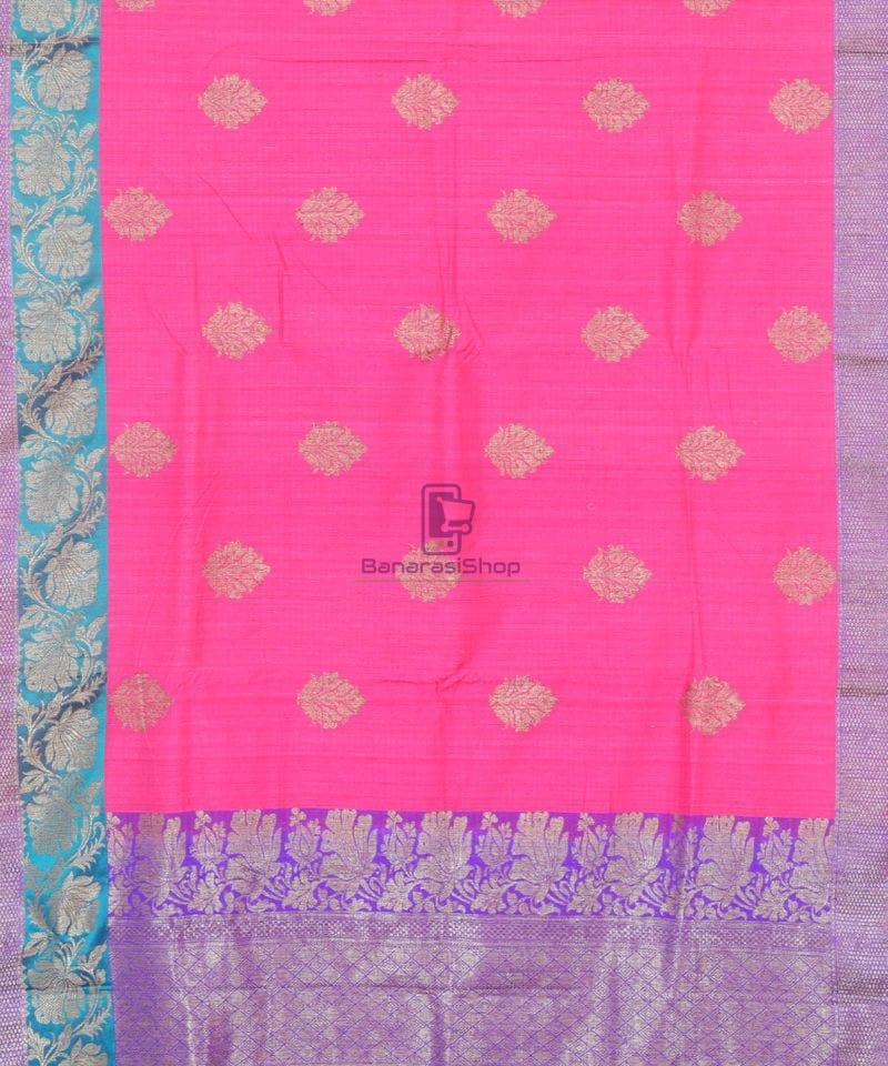 Banarasi Pure Handloom Dupion Silk Bubblegum Pink Saree 1