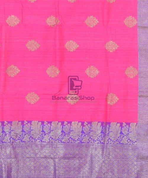 Banarasi Pure Handloom Dupion Silk Bubblegum Pink Saree 5