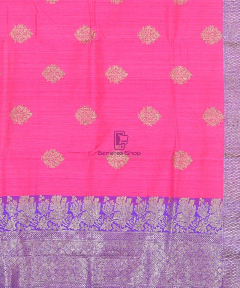 Banarasi Pure Handloom Dupion Silk Bubblegum Pink Saree 2