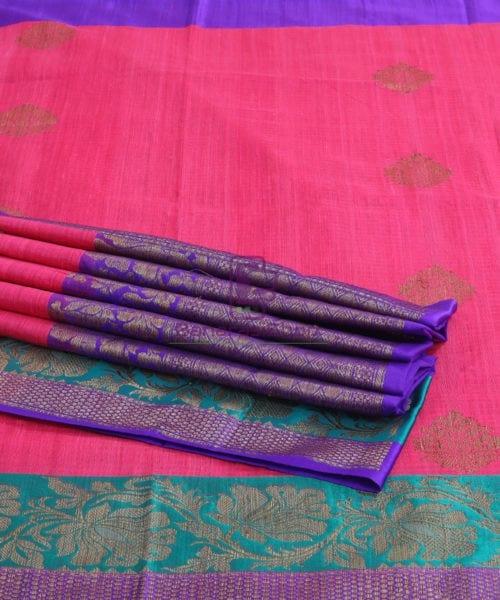 Banarasi Pure Handloom Dupion Silk Bubblegum Pink Saree 7