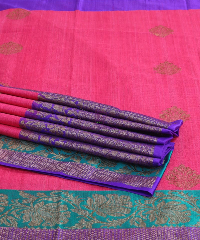 Banarasi Pure Handloom Dupion Silk Bubblegum Pink Saree 4