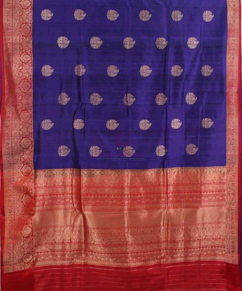 Pure Banarasi Tussar Silk Handwoven Double Shaded Saree in Blue 1