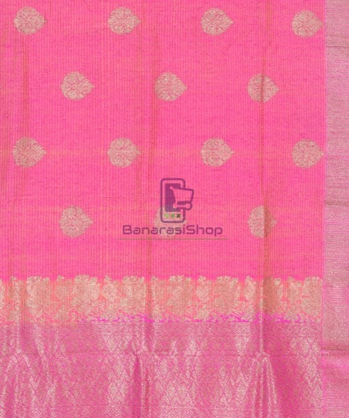 Banarasi Pure Handloom Dupion Silk Punch Pink Saree 4
