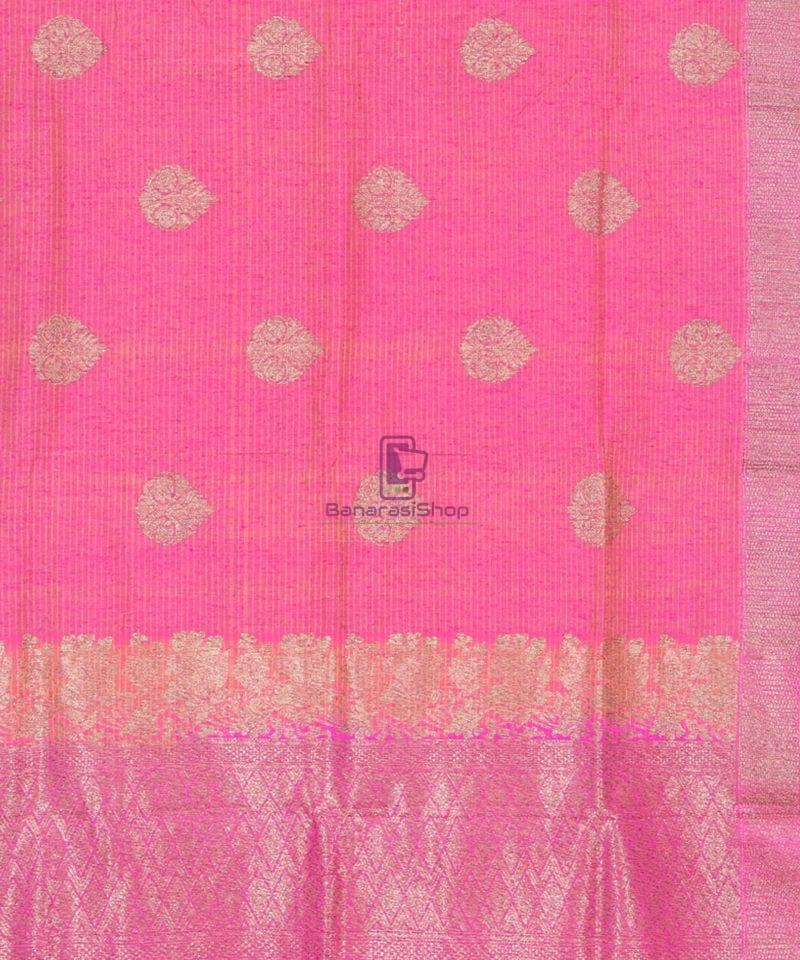 Banarasi Pure Handloom Dupion Silk Punch Pink Saree 2