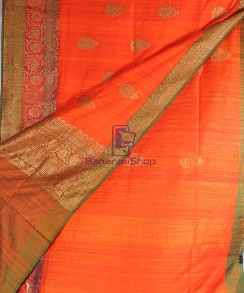 Handwoven Pure Banarasi Dupion Silk Saree in Orange 4