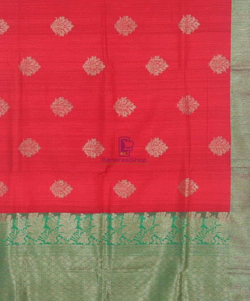 Banarasi Pure Handloom Dupion Silk Rose Red Saree 3