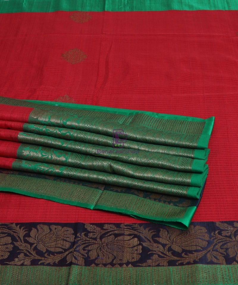 Banarasi Pure Handloom Dupion Silk Rose Red Saree 1