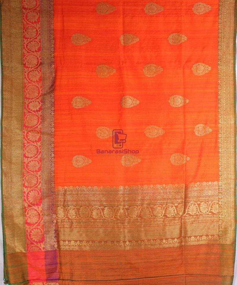Handwoven Pure Banarasi Dupion Silk Saree in Orange 3