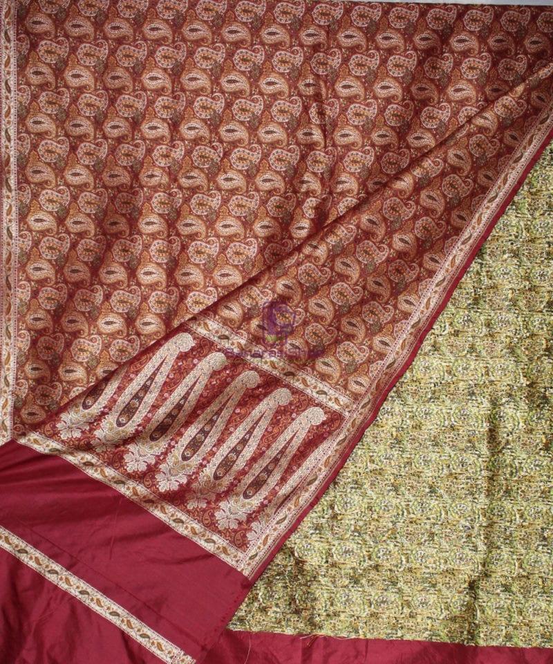Handwoven Pure Banarasi Jamdani Silk Saree in Red 2