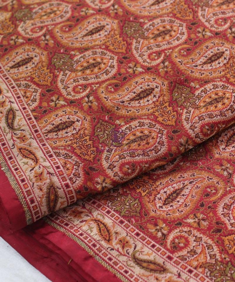 Handwoven Pure Banarasi Jamdani Silk Saree in Red 1
