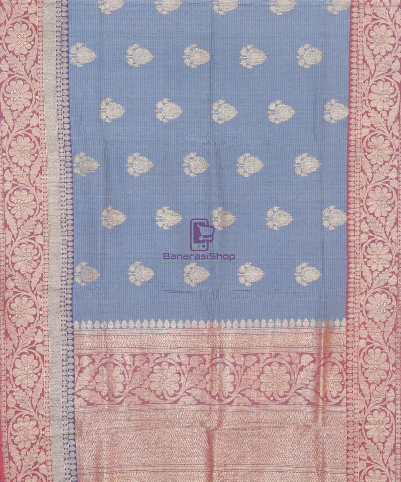 Banarasi Pure Handloom Dupion Silk Iris Blue Saree 1