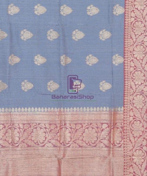Banarasi Pure Handloom Dupion Silk Iris Blue Saree 5