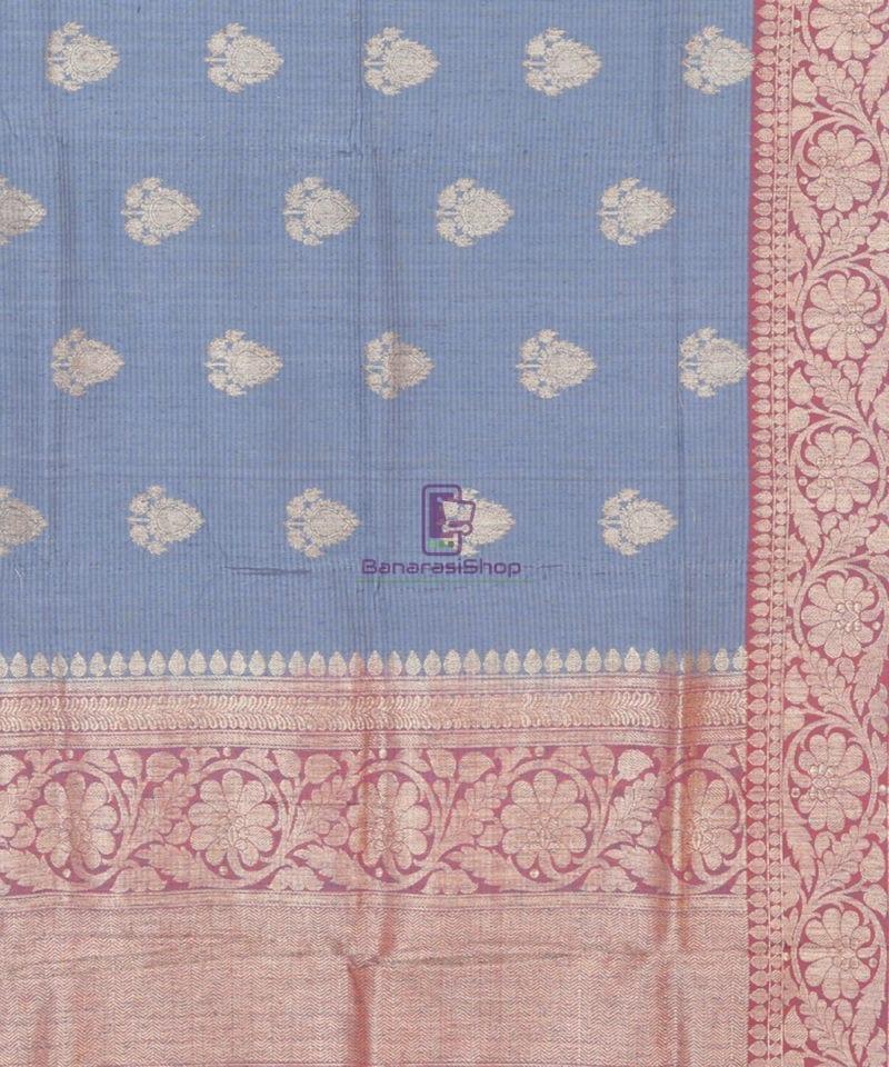 Banarasi Pure Handloom Dupion Silk Iris Blue Saree 2