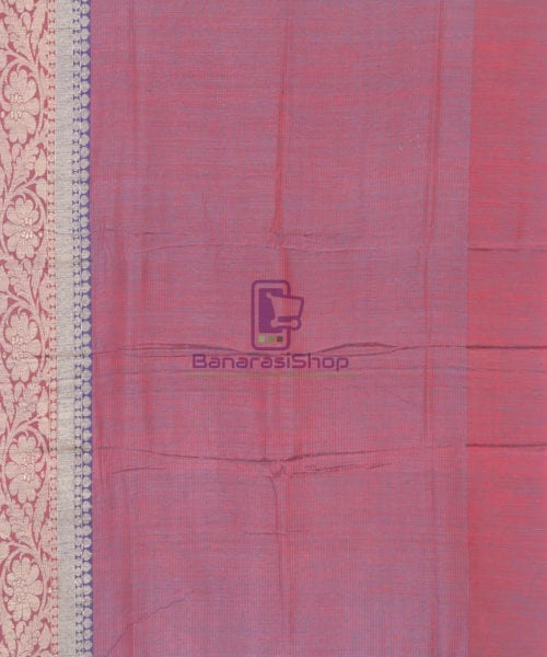 Banarasi Pure Handloom Dupion Silk Iris Blue Saree 6