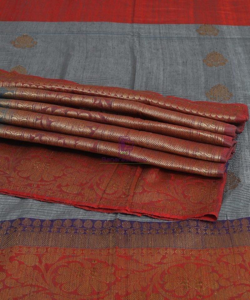 Banarasi Pure Handloom Dupion Silk Iris Blue Saree 4
